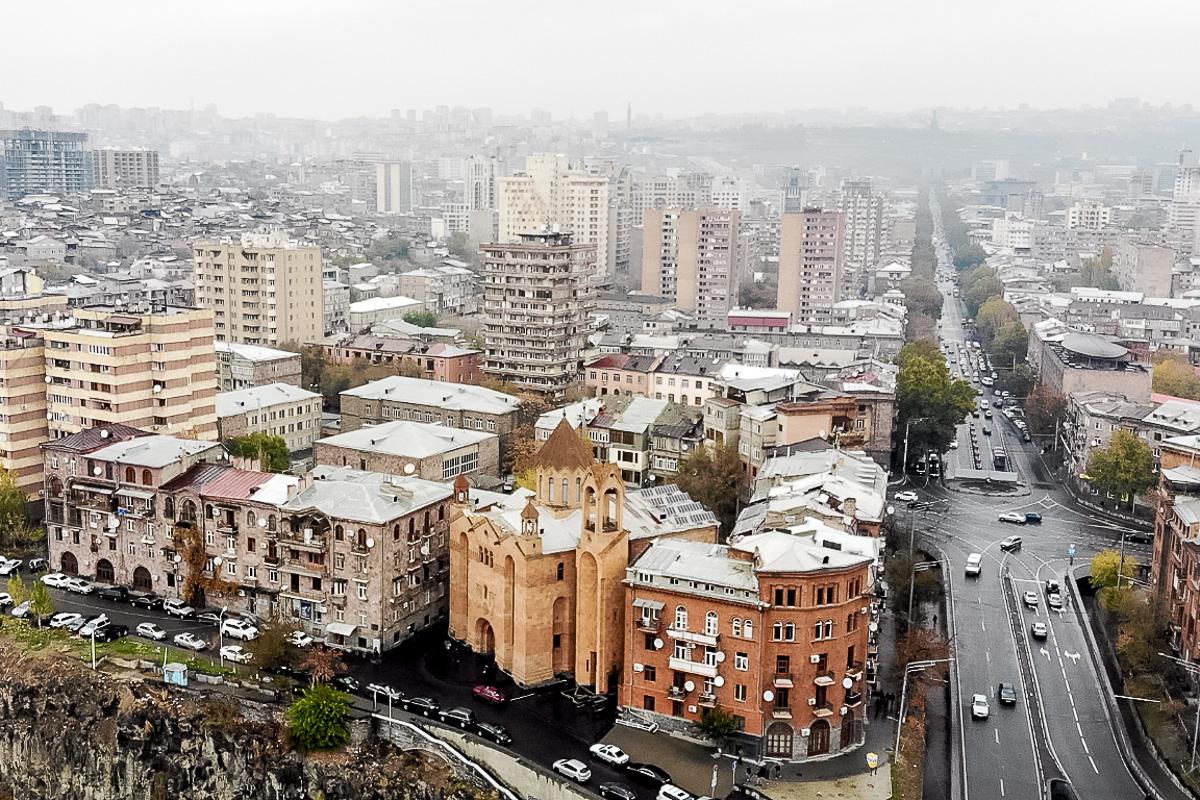Вид на осенний Ереван с воздуха